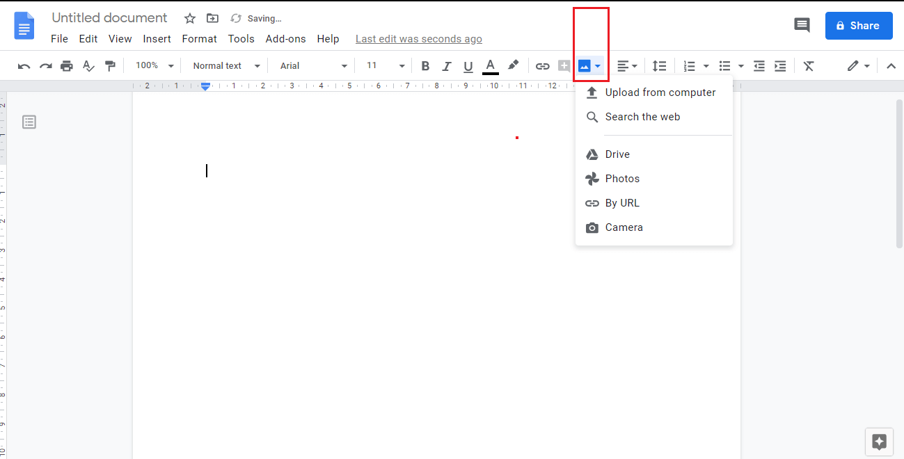 Add image to Google Docs by clicking on the Image icon