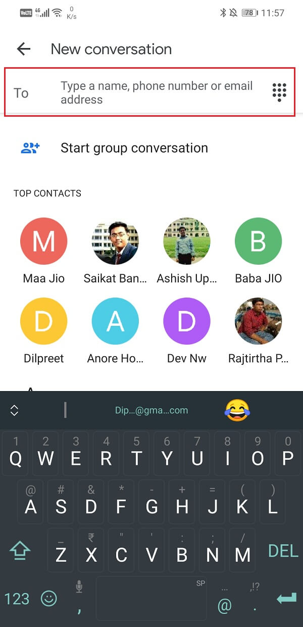 Add number or contact name in section marked for Recipients | Send Picture via Email or Text Message on Android