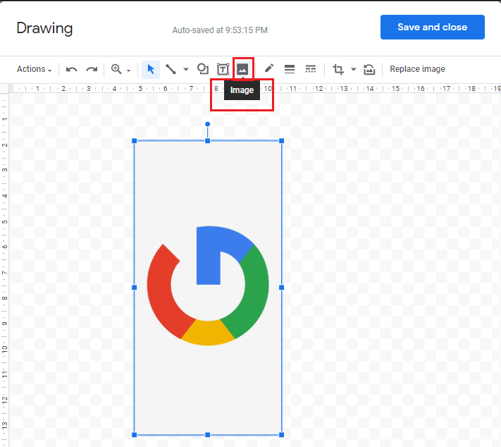 Add your image to drawing by clicking on the Image icon