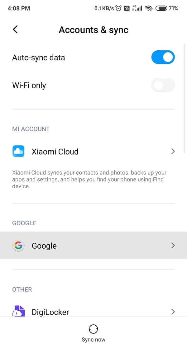Choose the Google Account and check all the options in order to sync