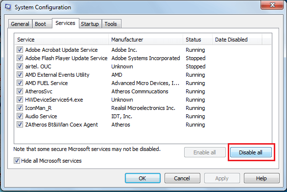 Click on Disable Allbutton to disable
