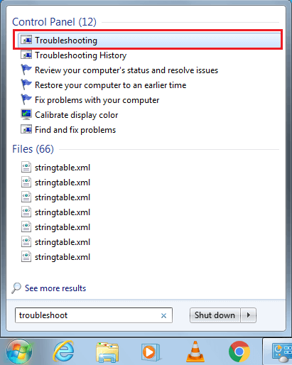 Click on Troubleshooting to launch program   Fix Windows 7 Updates Not Downloading