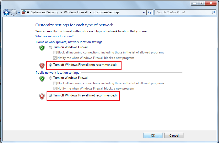 Click on radio buttons next to Turn off Windows Defender Firewall   Fix Windows 7 Updates Not Downloading
