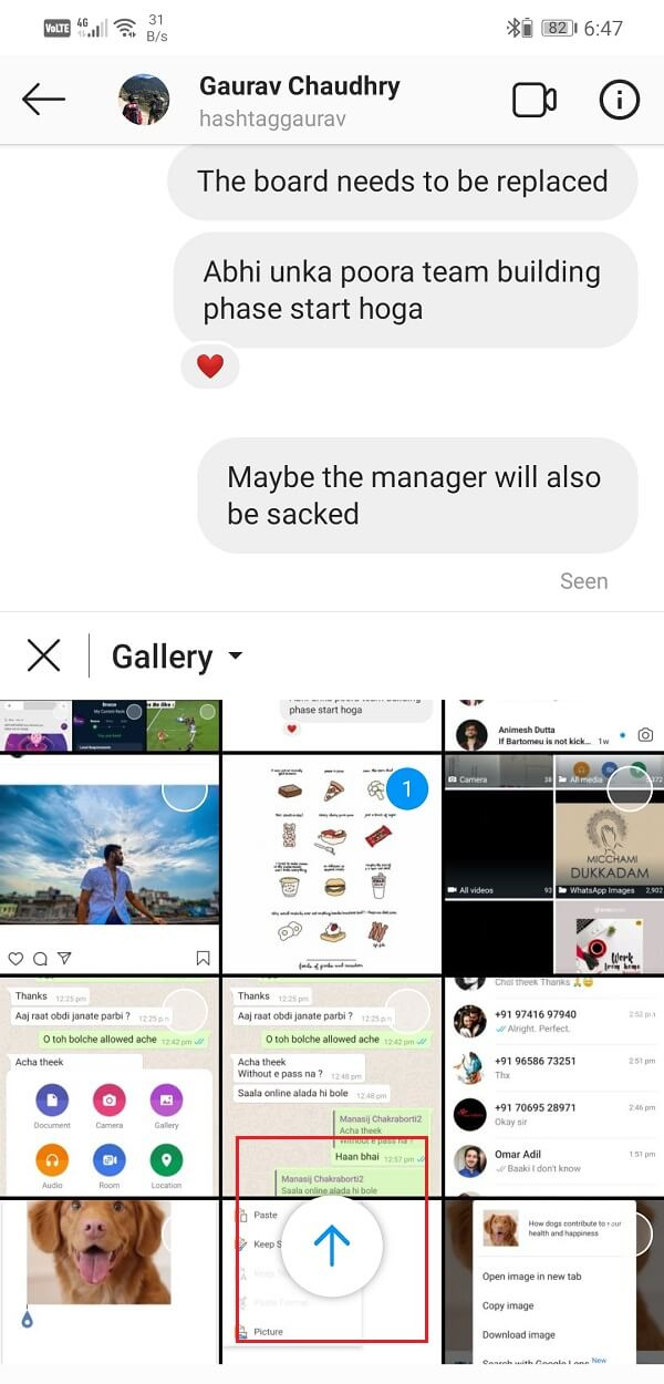 Find image, tap on it and press Upward arrow button   How to Copy an Image to Clipboard on Android