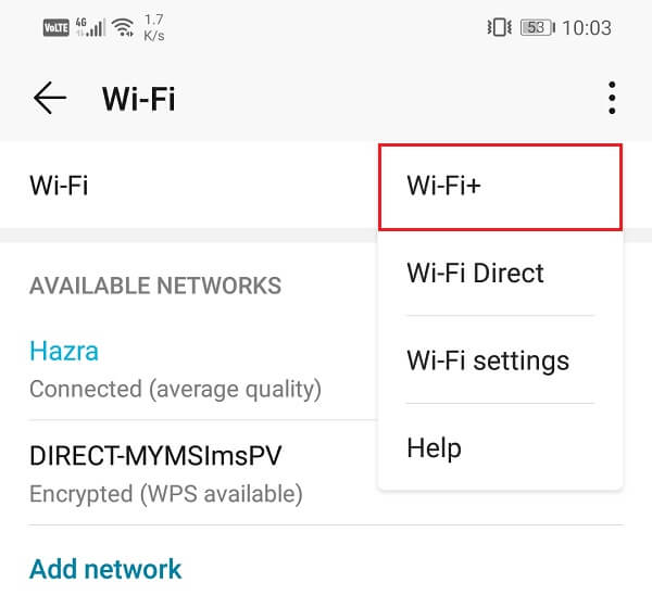 From the drop-down menu, select Wi-Fi+