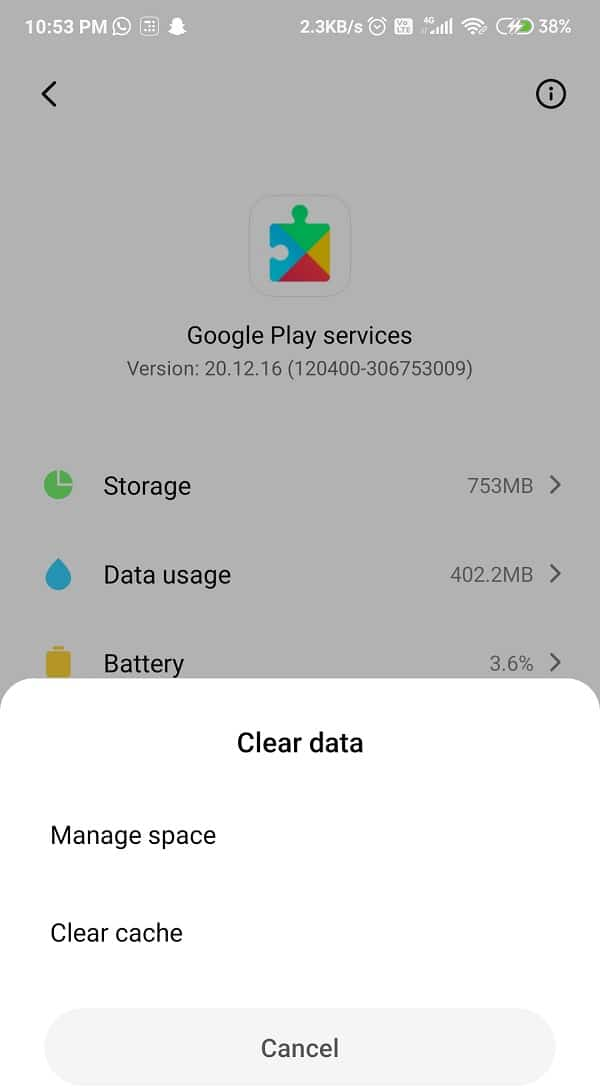 """From the list of options, including a """"Clear cache"""" button, select it   Fix Google Play Services Battery Drain"""