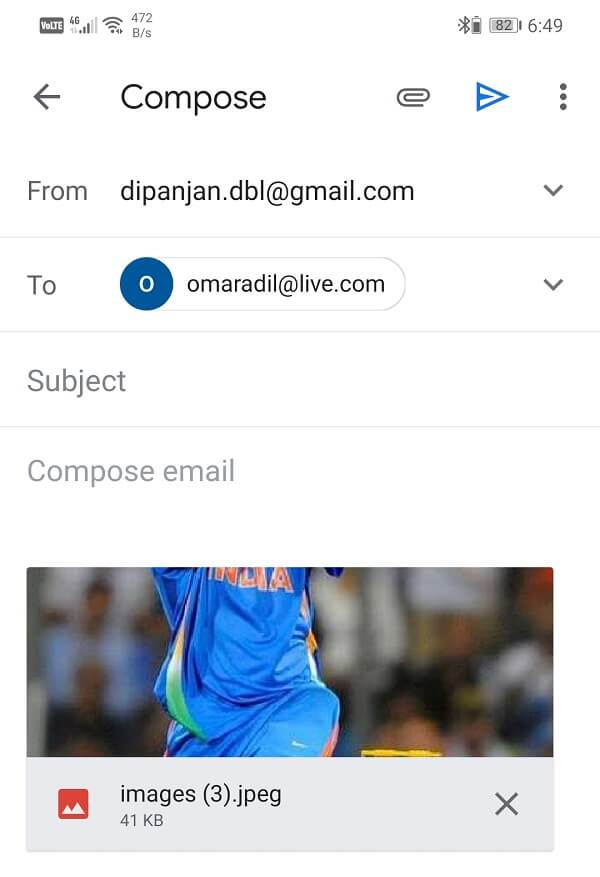 Image will be added to mail as an attachment