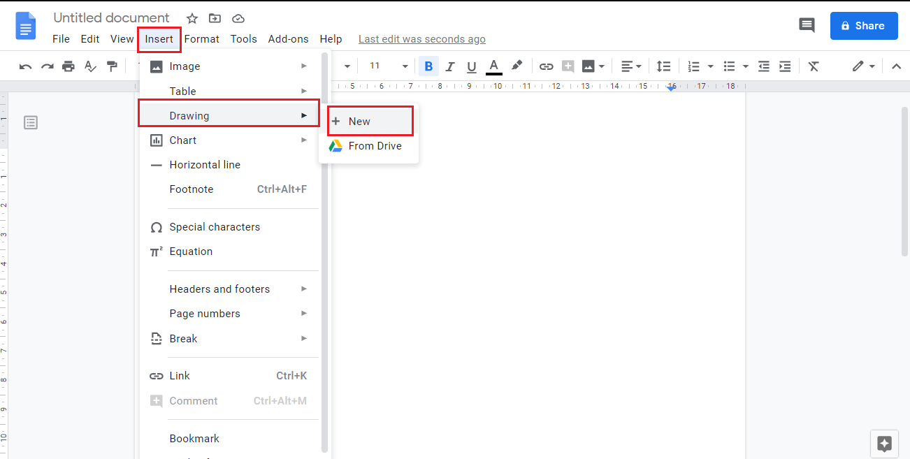Open the Insert menu and move your mouse over Drawing, Choose the New option