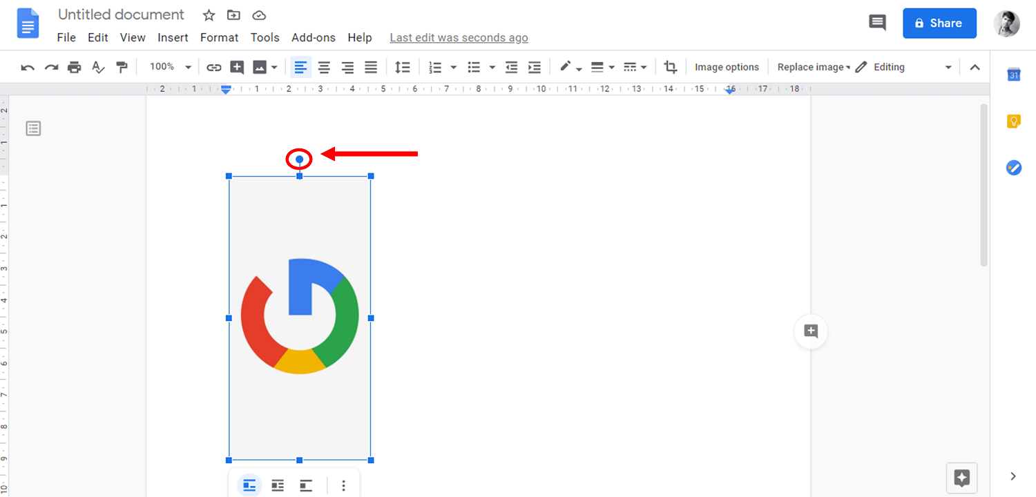 Keep your cursor over the Rotate Handle | How to Rotate an Image in Google Docs