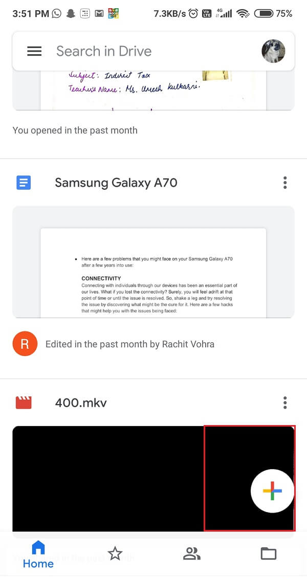 Open Google Drive app and tap on + sign