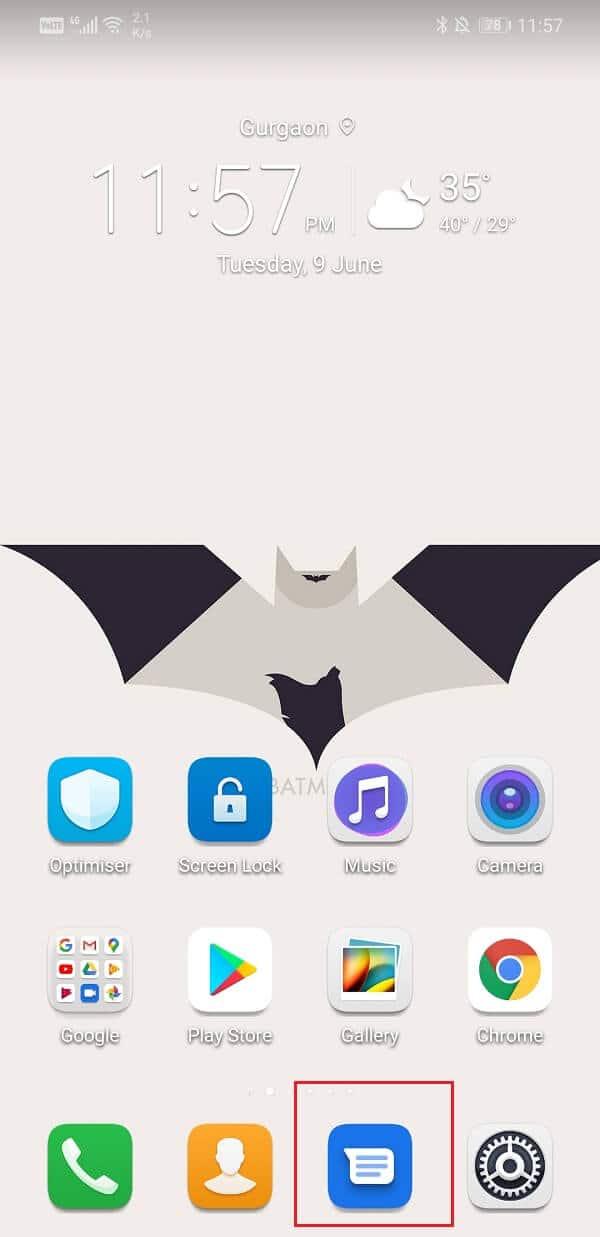 Open in-built Android Messaging app