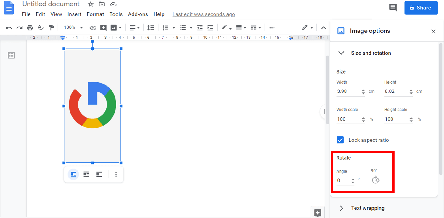 | How to Rotate an Image in Google Docs
