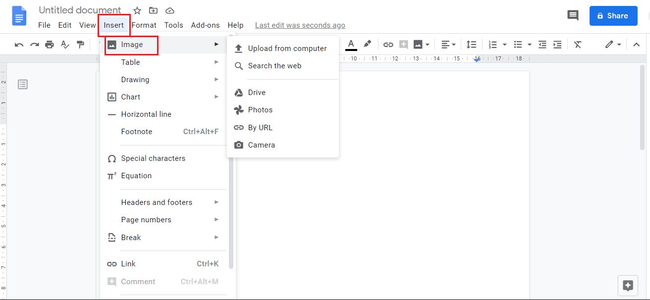 Add an image to Google Docs by Insert > Image