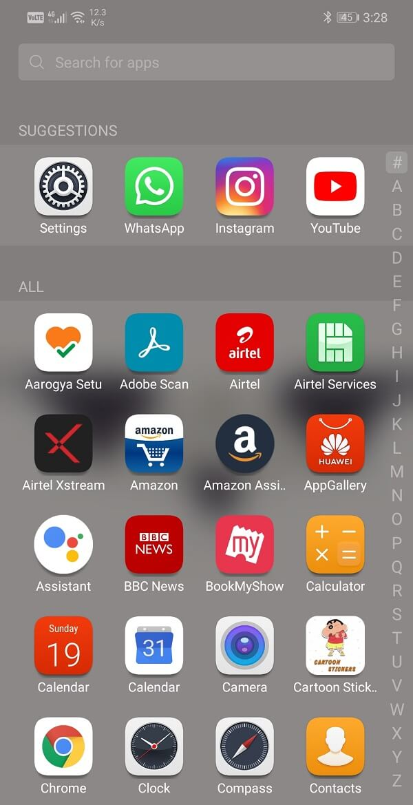 Scroll through the list of apps that you wish to uninstall