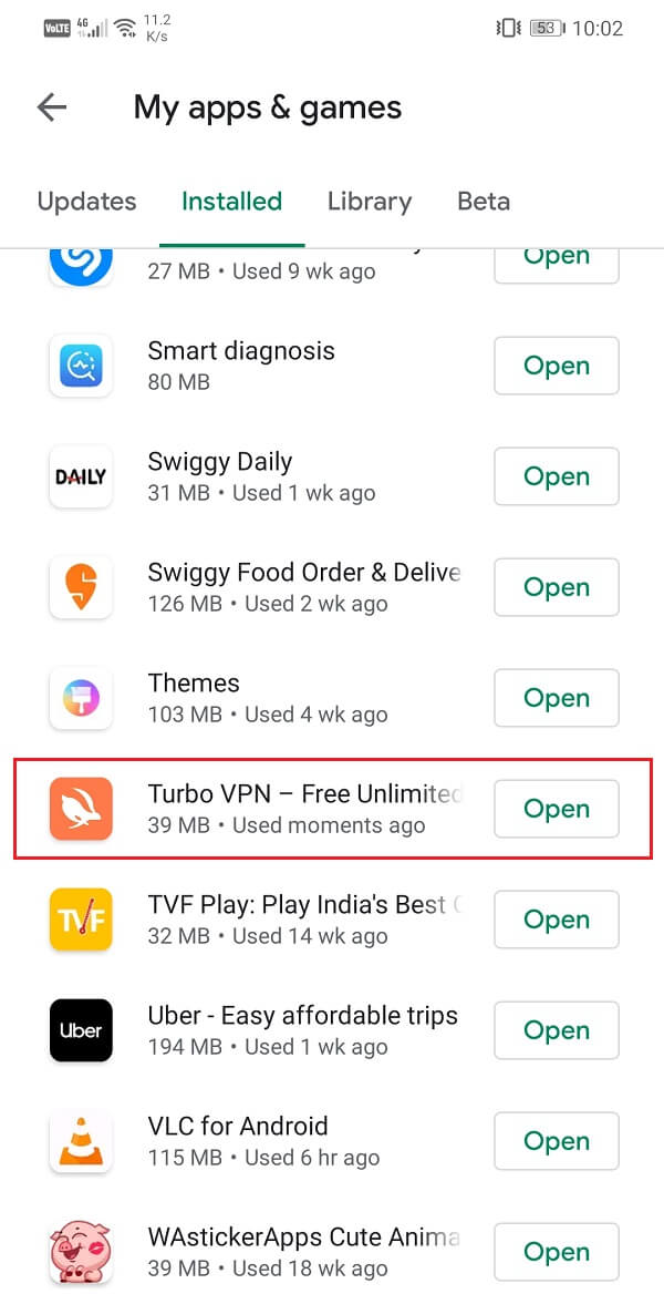 Search for the VPN app