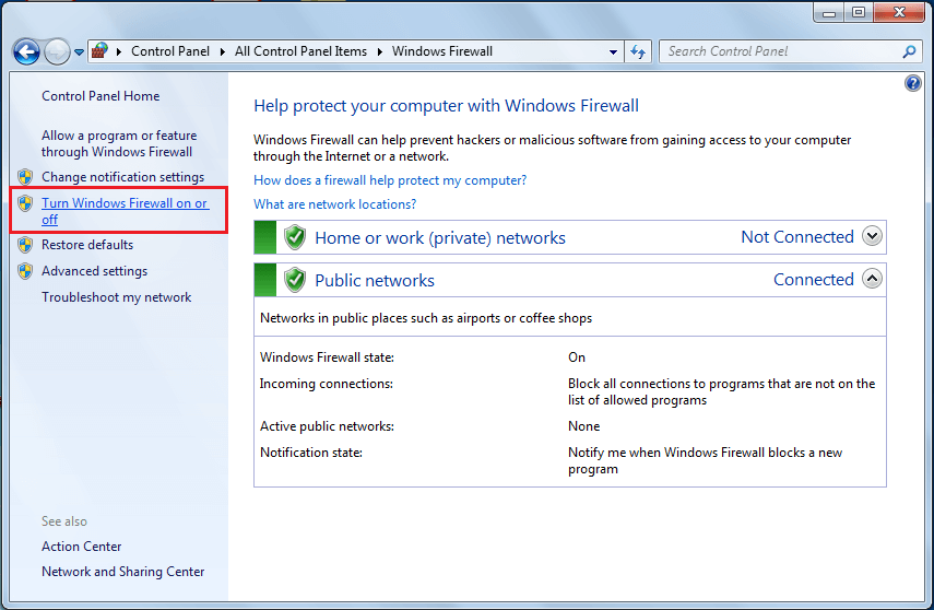 Select Turn Windows Defender Firewall on or offfrom left panel