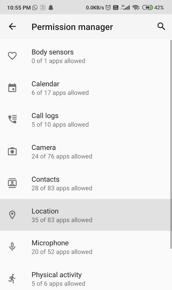 Select the location in Permission Manager   Fix Google Play Services Battery Drain