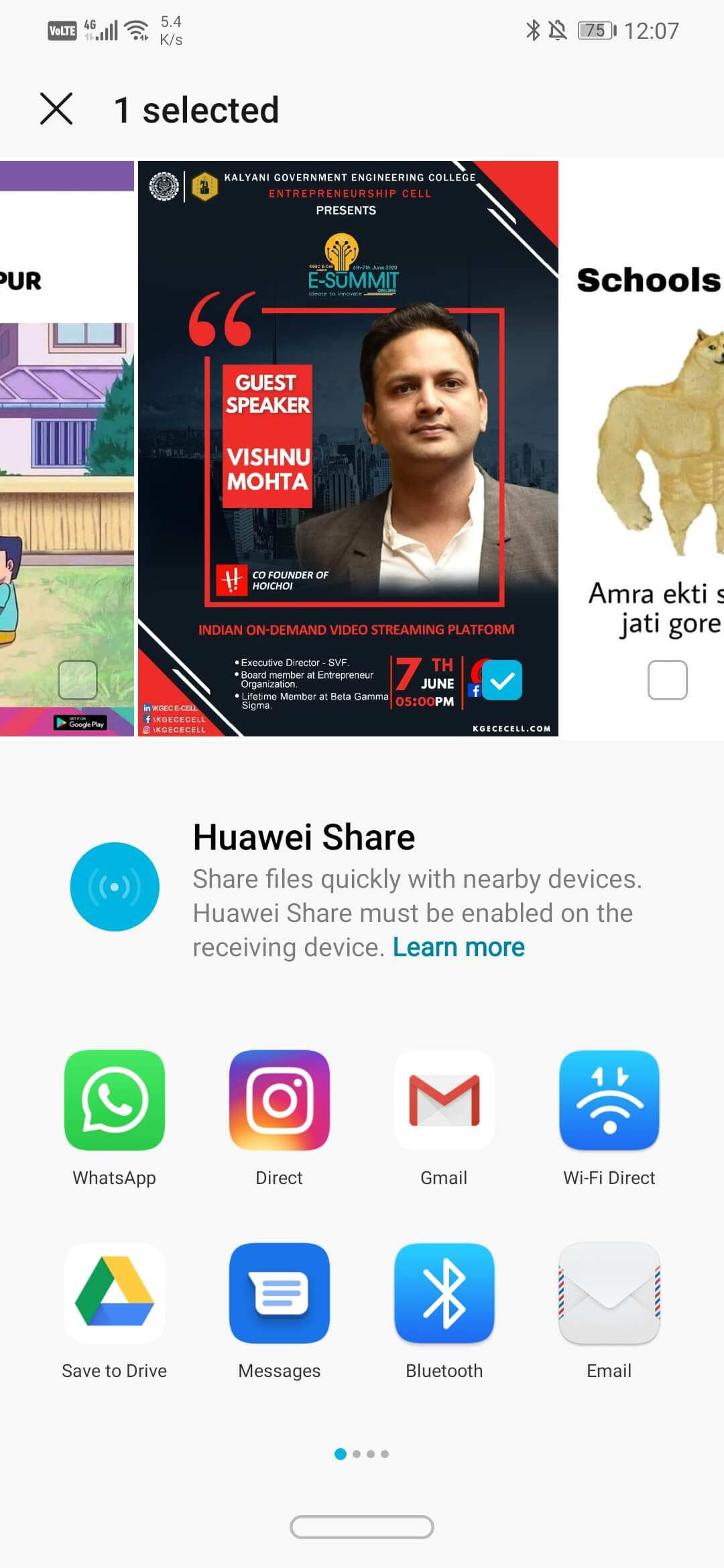 Tap on Sharing option whichever is suitable for you | Send Picture via Email or Text Message on Android