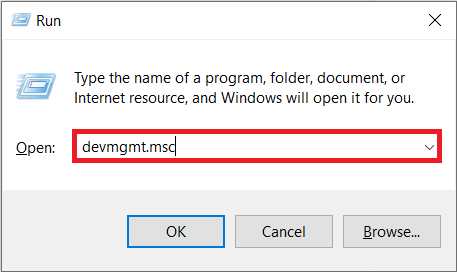 Type devmgmt.msc in the run command box (Windows key + R) and press enter