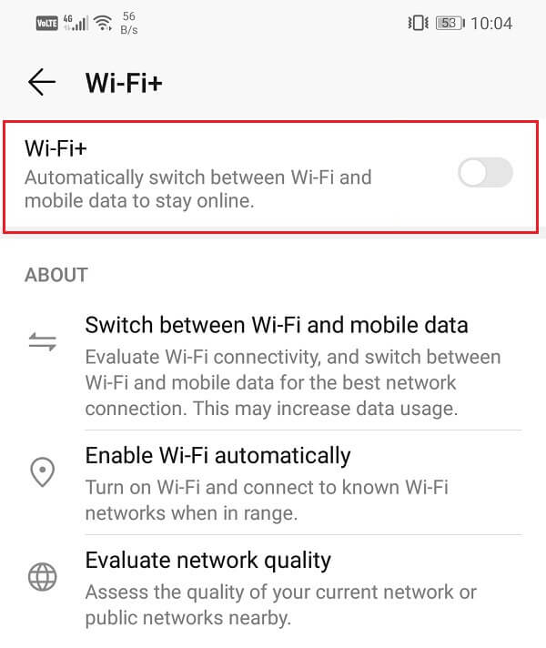 Toggle off switch next to Wi-Fi+ to disable the automatic switch feature
