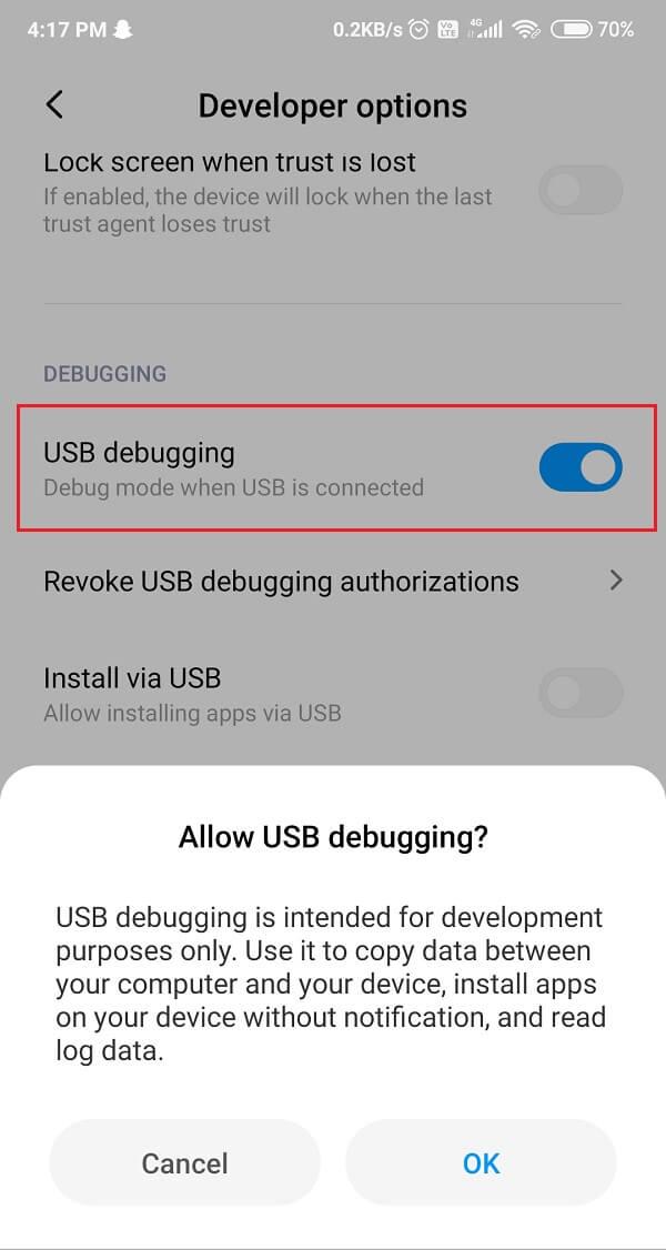Toggle on USB Debugging option