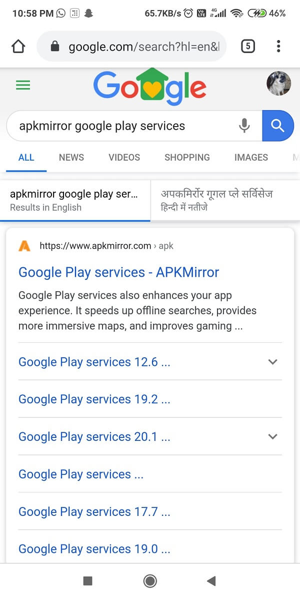 Type 'Google Play Service'and click ondownload   Fix Google Play Services Battery Drain