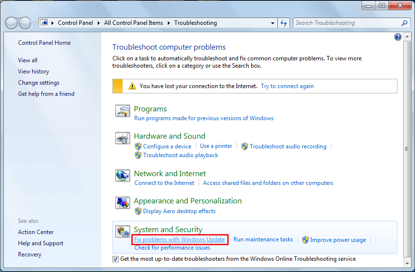 Under System and Security, click on the Fix problems with Windows Update