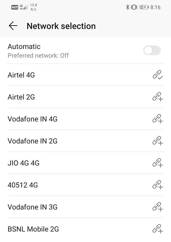 Your device will now search for all available networks