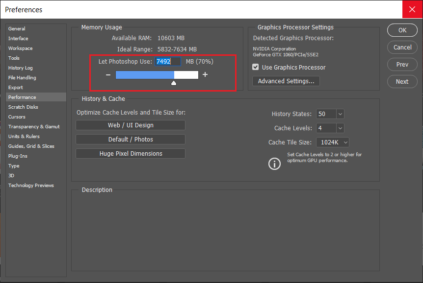 Adjust the slider under Memory Usage