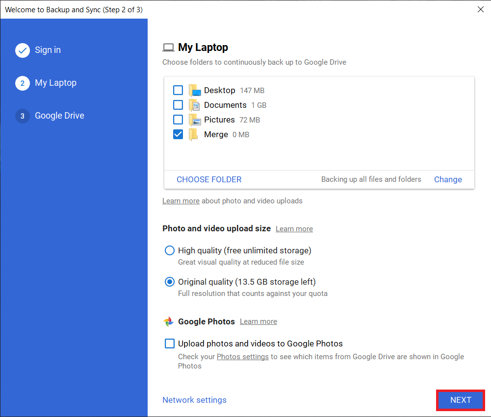 Click on Nextto move forward | Merge Multiple Google Drive & Google Photos Accounts