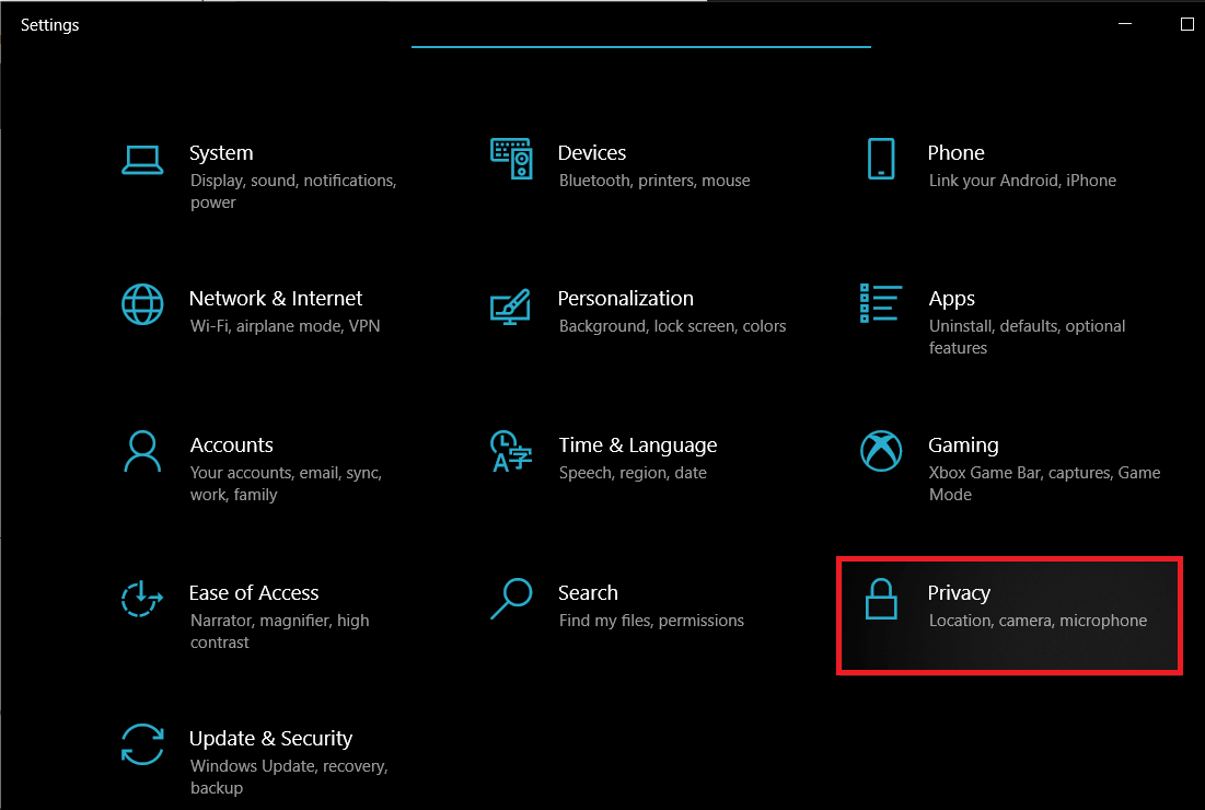 Click on Privacy | Enable Stereo Mix on Windows 10