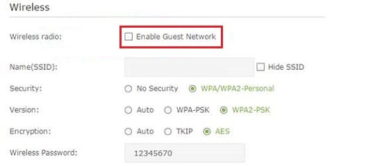 Click on Wireless Settingspresent on the left and then onGuest Network