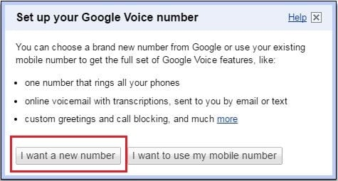 """Click on the """"I want a new number"""" option"""