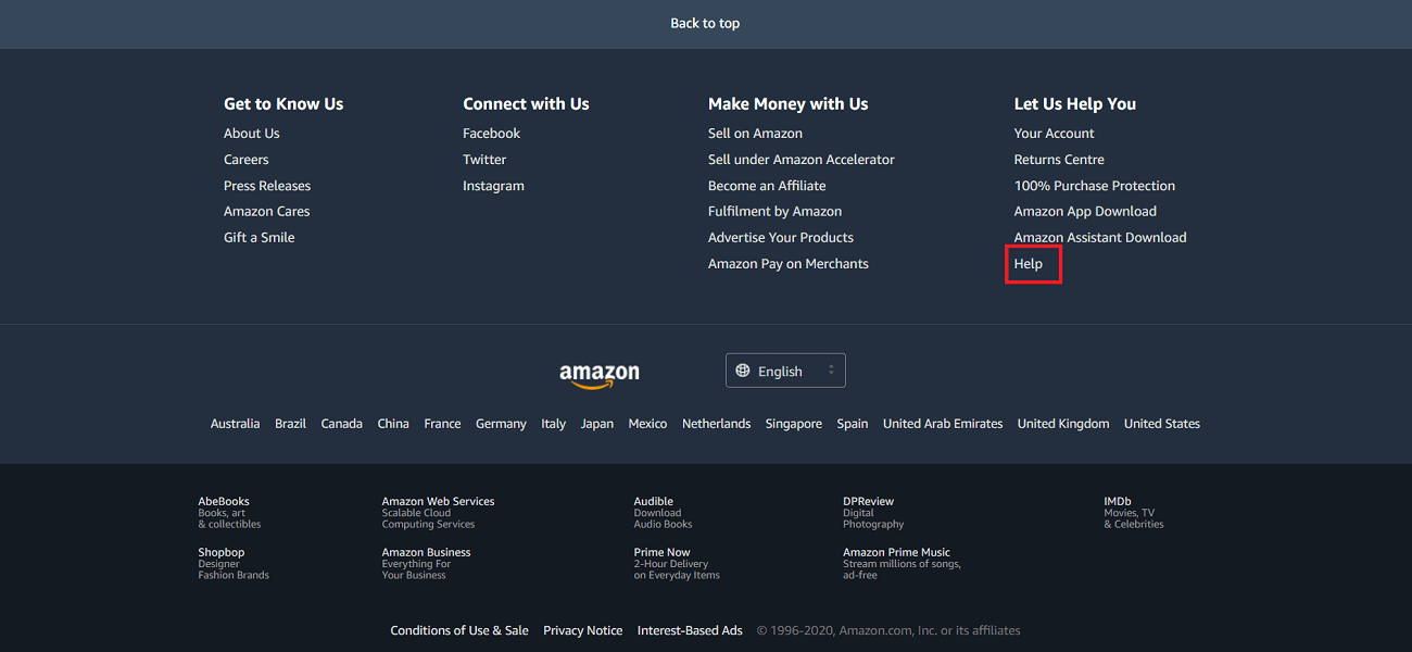 Click on the Help option   How to Delete Your Amazon Account