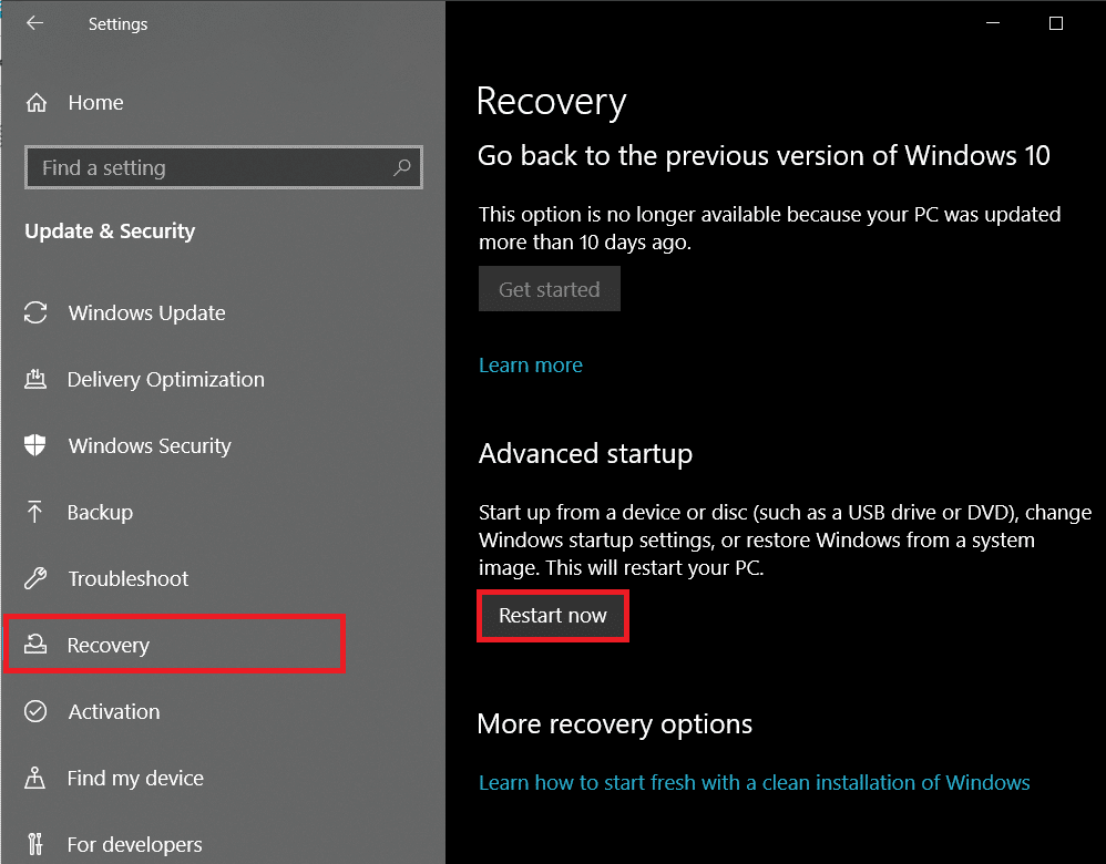 Click on the Restart nowbutton under the Advanced startup section | Enable Virtualization on Windows 10
