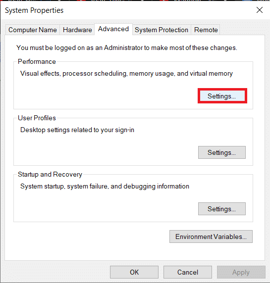 Click on the Settings…button under Performance   Fix Windows 10 running slow after update