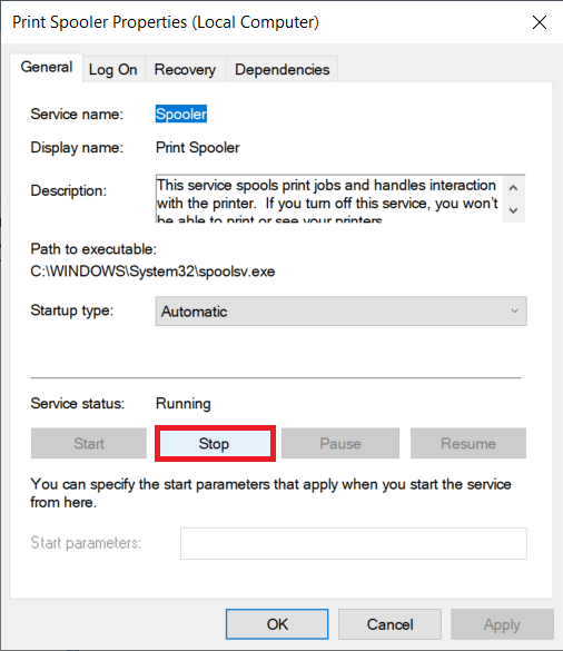 Click on the Stopbutton to halt the service   Fix Common Printer Problems in Windows 10