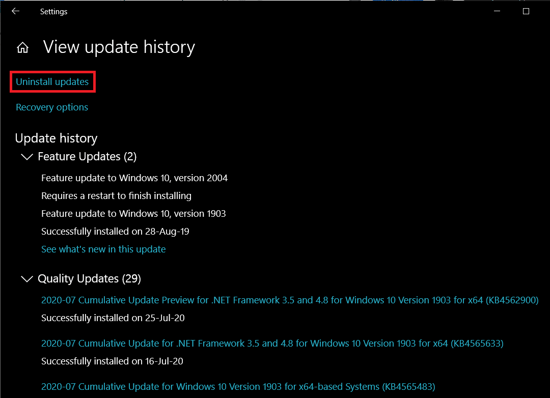 Click on the Uninstall updateshyperlink   Fix Windows 10 running slow after update