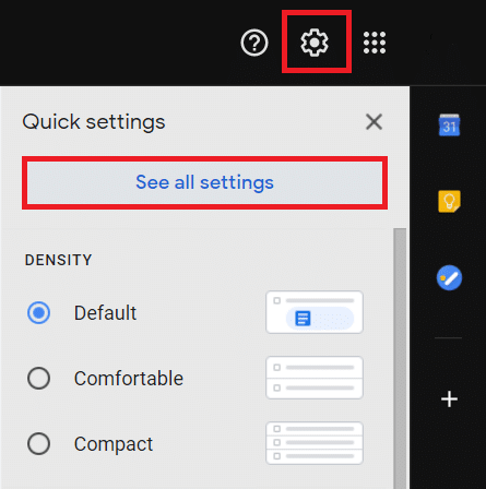 Click on the cogwheel Settings icon. Click on theSee all settings button to continue