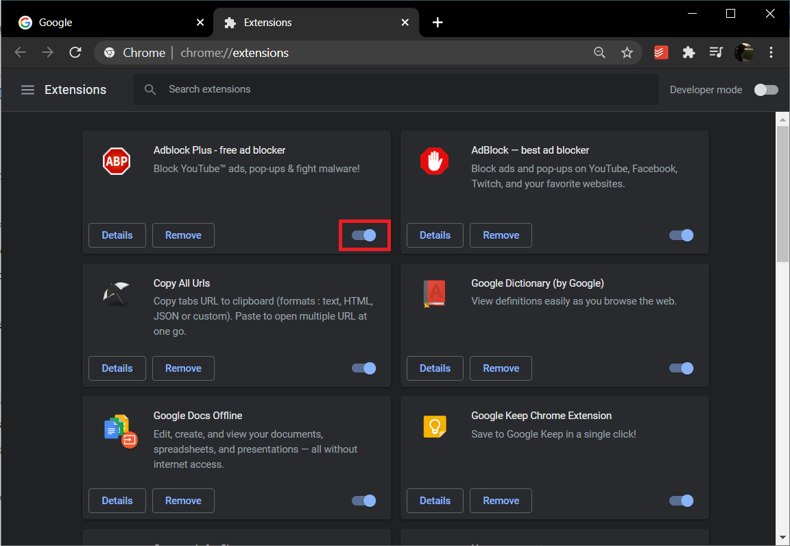 Click on the toggle switch next to an extension to turn it off | Fix Facebook Home Page Won't Load Properly