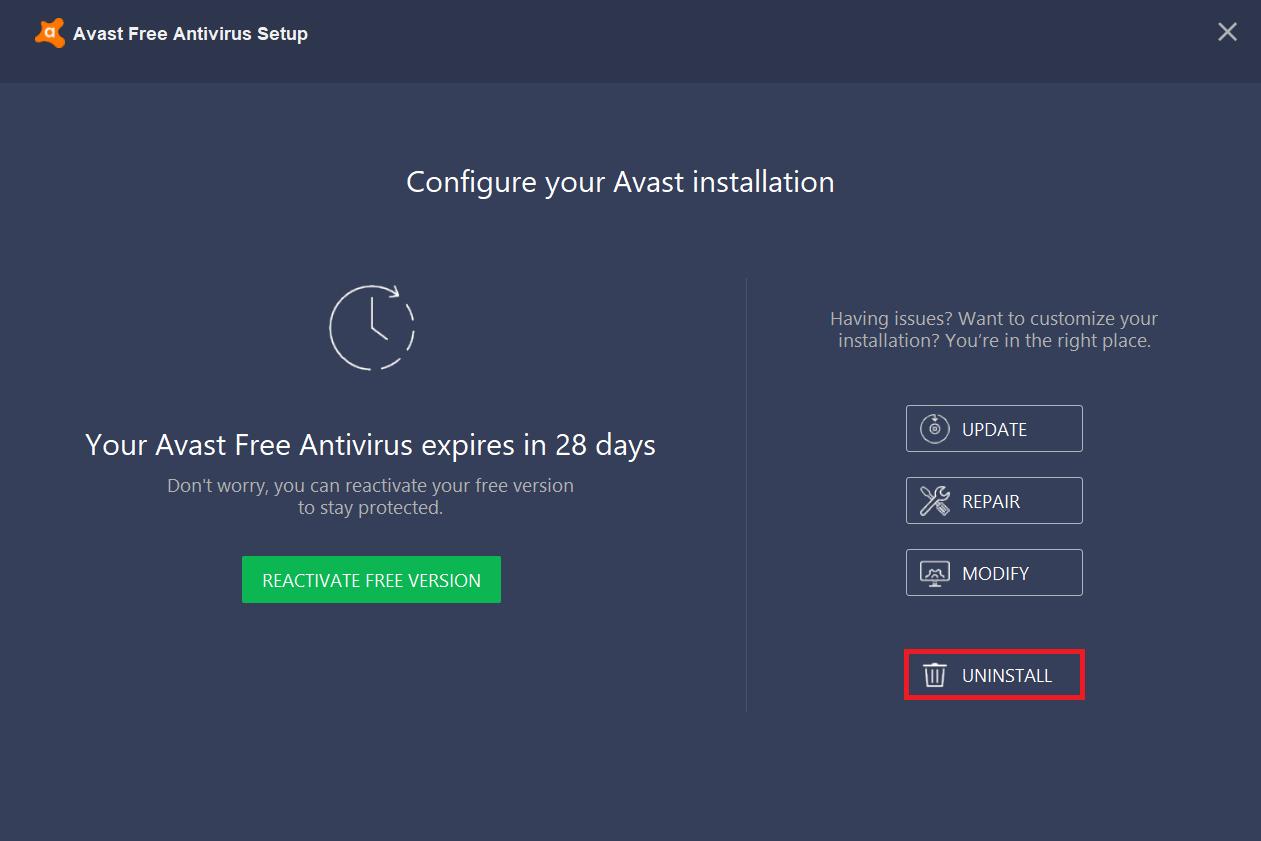 Click on uninstallbutton at the bottom of the window | Completely Uninstall Avast Antivirus in Windows 10