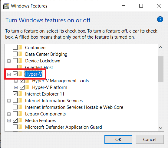 Enable Virtualization by ticking the box next to Hyper-V and click on OK | Enable Virtualization on Windows 10