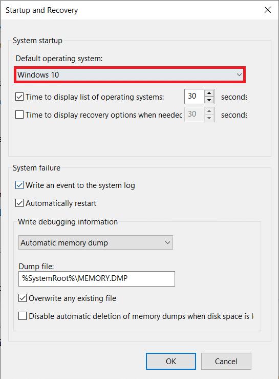 Ensure the Default operating systemis set asWindows 10 | Completely Uninstall Avast Antivirus in Windows 10