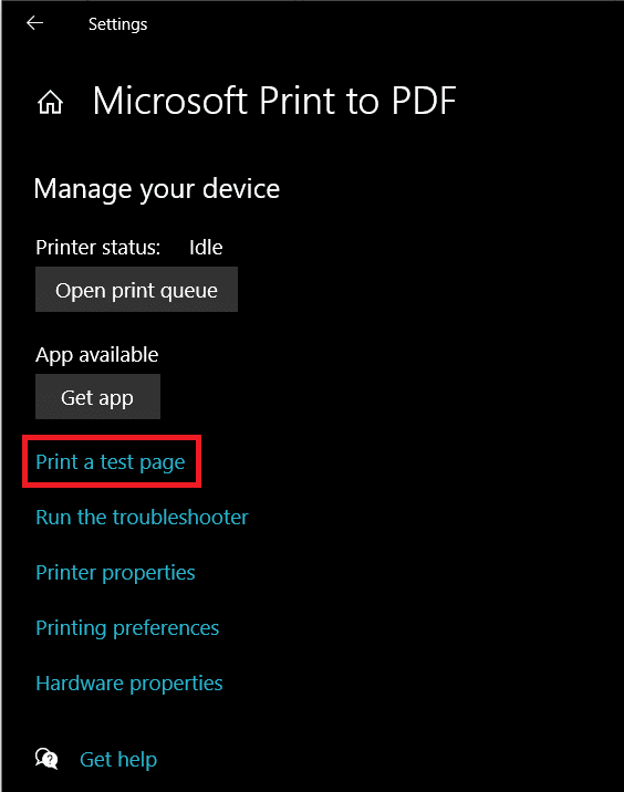Finally, click on the Print a test page option