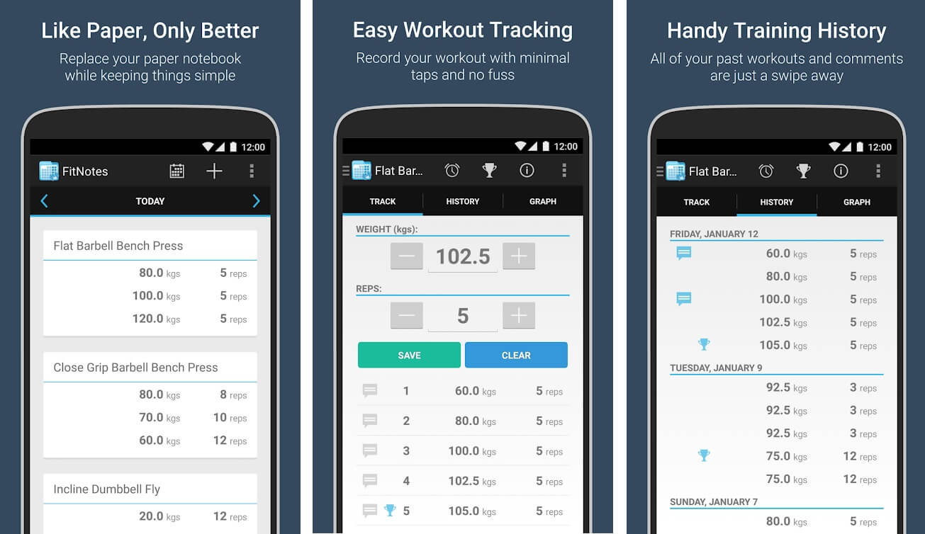 Fit notes- Workout logs | Best Free Android Apps of 2020