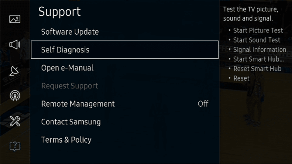 From Support select Select Diagnosis