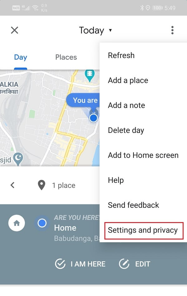 From the drop-down menu, select the Settings and privacy option