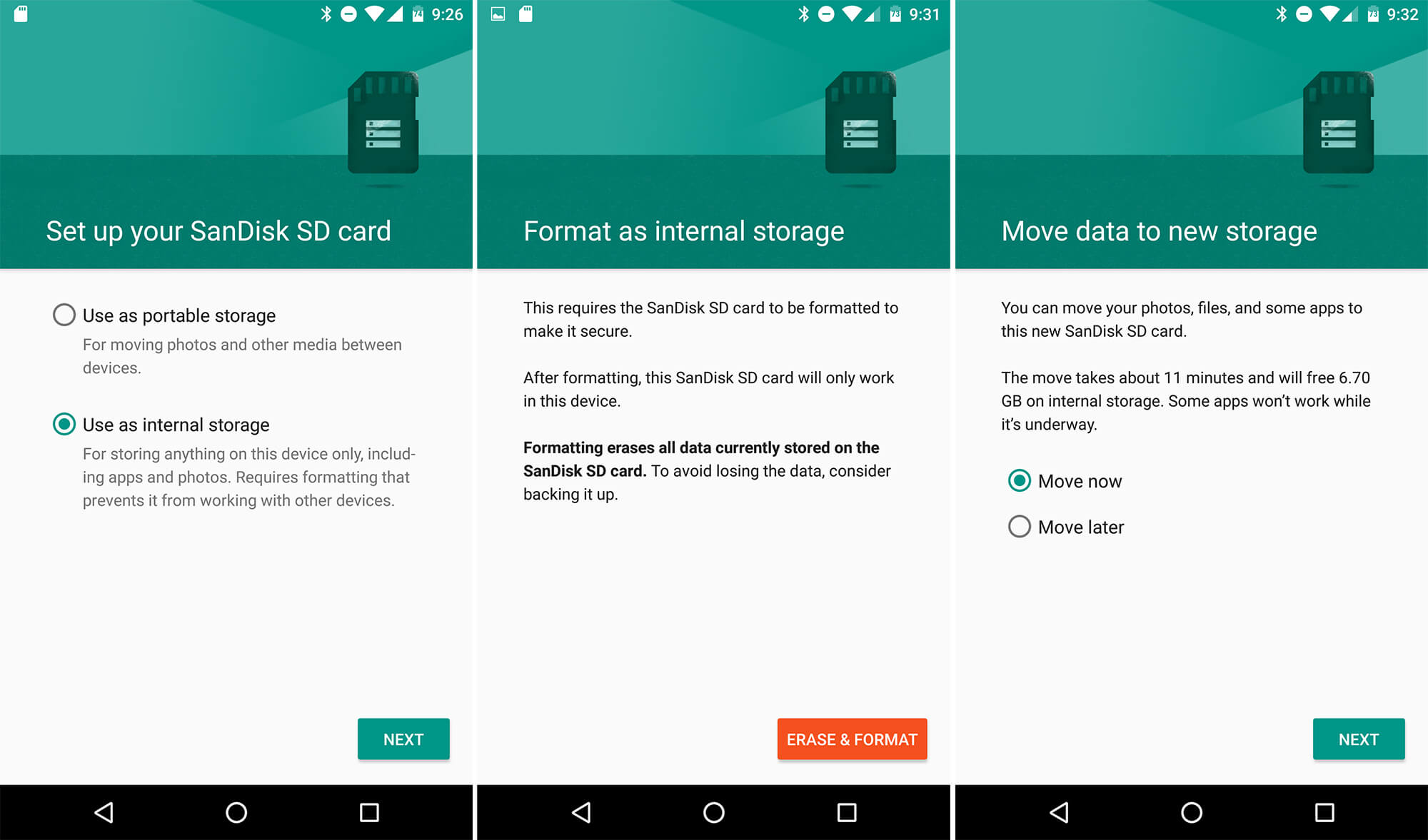 """From the list of options choose the """"Use as internal storage"""" option 