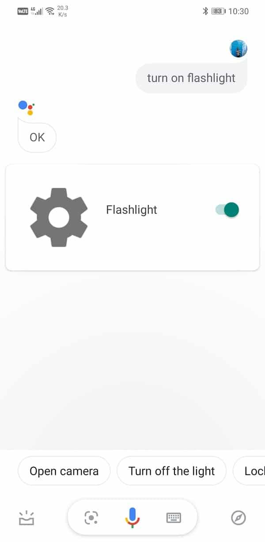 "Go ahead and say ""Turn on the Flashlight"" | Turn ON device flashlight using Google Assistant"