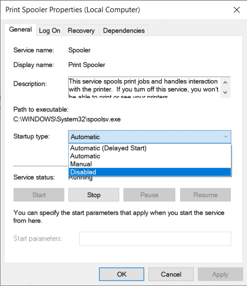 If you want to disable a particular service, change its startup type to disabled